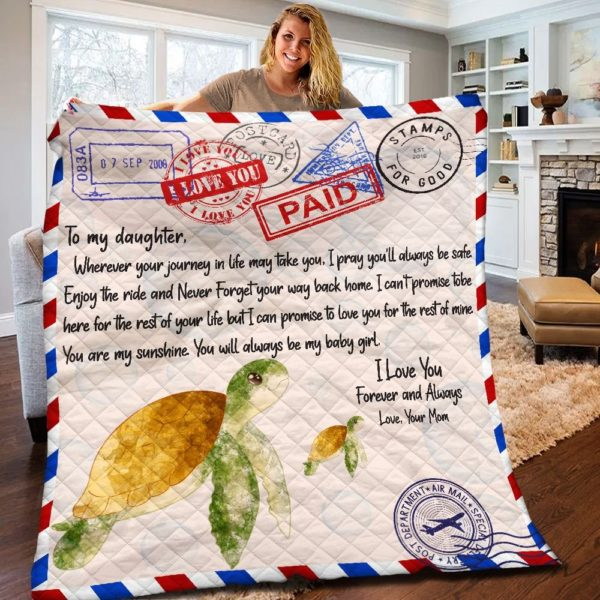 Personalized Letter Turtle To My Daughter From Mom Enjoy The Ride Quilt Blanket Great Customized Gifts For Birthday Christmas Thanksgiving