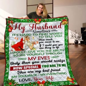 Personalized Santa Clause How Much You Mean To Me To My Husband From Wife Quilt Blanket Great Customized Blanket Gifts For Birthday Christmas Thanksgiving Valentine's Day