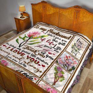 Personalized Protea Thank You For Being My Great Life Partner To My Husband From Wife Quilt Blanket Great Customized Blanket Gifts For Birthday Christmas Thanksgiving Valentine's Day
