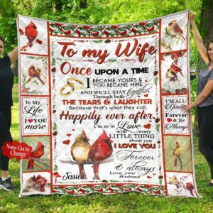 Personalized Cardinal To My Wife From Husband I'm All Yours Forvever Quilt Blanket Great Customized Blanket Gifts For Birthday Christmas Thanksgiving Mother's Day