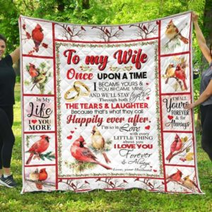 Personalized Cardinal Family To My Wife From Husband That What They Call Happily Quilt Blanket Great Customized Gifts For Birthday Christmas Thanksgiving Mother's Day