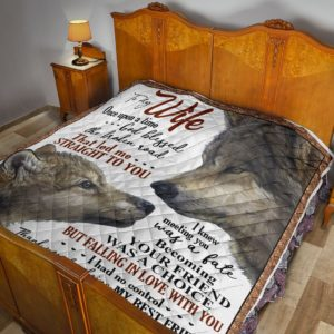 Personalized Couple Wolf To My Wife From Husband That Led Me Straight To You Quilt Great Customized Gifts For Birthday Christmas Thanksgiving Mother's Day