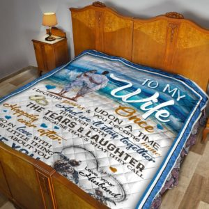 Personalized Sea Turtle And Beach To My Wife From Husband Once Upon A Time Quilt Blanket Great Customized Gifts For Birthday Christmas Mother's Day