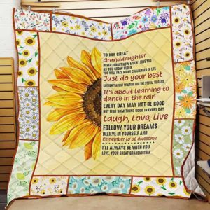Personalized Sunshine To My Great Granddaughter Quilt Blanket From Great Grandmother You Will Face Many Challenges In Life Great Customized Blanket Gifts For Birthday Christmas Thanksgiving