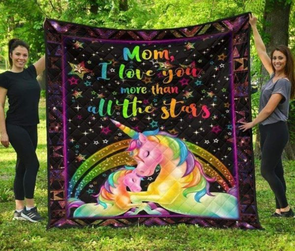 Mom I Love You More Than All The Stars Blanket From Son Daughter Gifts For Mother Unicorn And Stars Quilt Blanket Great Customized Blanket Gifts For Mother's Day Birthday Christmas Thanksgiving