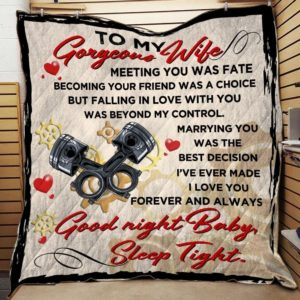 Personalized Mechanic To My Wife Quilt Blanket I Love You Forever And Always Good Night Baby Sleep Tight Great Customized Blanket Gifts For Birthday Christmas Thanksgiving
