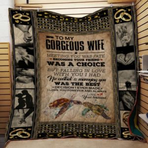 Personalized Turtle To My Wife From Husband Meeting You Was Fate Quilt Blanket Great Customized Gifts For Birthday Christmas Thanksgiving Wedding Valentine's Day