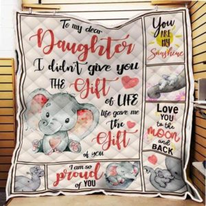 Personalized Elephant I'm So Proud Of You To My Daughter From Mom Quilt Blanket Great Customized Blanket Gifts For Birthday Christmas Thanksgiving Mother's Day