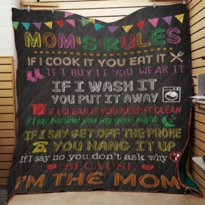 Mom's Rule Family From Daughter FromSon To My MomQuilt Blanket Great Customized Blanket Gifts For Birthday Christmas Thanksgiving Mother's Day