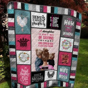 Home Is Where Mom Is Quilt Blanket Great Customized Gifts For Birthday Christmas Thanksgiving Mother's Day