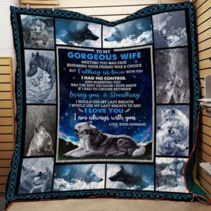 Personalized Wolf To My Wife From Husband I Love You Quilt Blanket Great Customized Gifts For Birthday Christmas Thanksgiving Wedding Valentine's Day Mother's Day