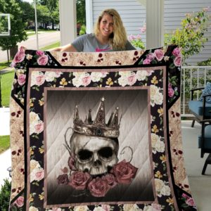 Skull Rose Wearing Golden Crown Quilt Blanket Great Customized Gifts For Birthday Christmas Thanksgiving Perfect Gifts For Skull Lover