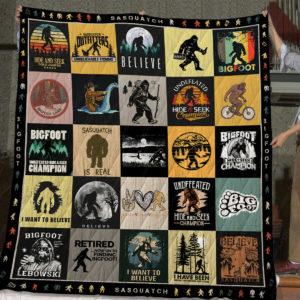 V25 Bigfoot Quilt Blanket, Sasquatch, Bigfoot Gifts, Finding Bigfoot Christmas