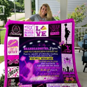 Personalized Cheerleading To My Granddaughter From Grandma You Will Never Lose Quilt Blanket Great Customized Gifts For Birthday Christmas Thanksgiving