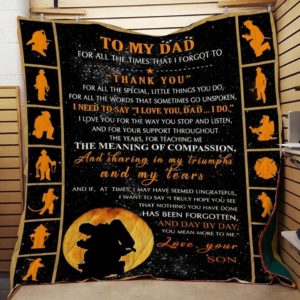 Personalized  Firefighter To My Dad Thank You Quilt Blanket Great Customized Gifts For Birthday Christmas Thanksgiving Father's Day