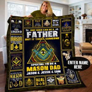 Personalized Mason Dad Special To Be A Mason Dad Forever Love You Dad Quilt Blanket Great Customized Blanket Gifts For Birthday Christmas Thanksgiving, Father's Day