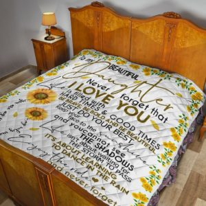 Personalized Sunflower Family From Dad To Beautiful Daughter Quilt Blanket Great Customized Gifts For Birthday Christmas Thanksgiving Father's Day