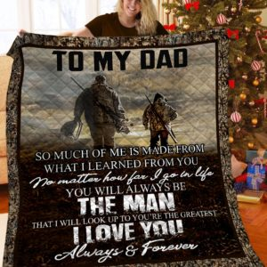 Personalized Hunting To My Dad I Will Always Look Up To You Quilt Blanket Great Customized Blanket Gifts For Birthday Christmas Thanksgiving Father's Day