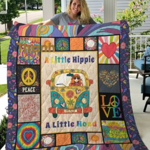 A Little Hippie A Little Hood Quilt Blanket Great Customized Blanket Gifts For Birthday Christmas Thanksgiving