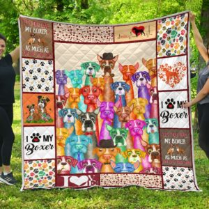 Colorful Boxer Dogs I Love My Boxer Quilt Blanket Great Customized Blanket Gifts For Birthday Christmas Thanksgiving Anniversary