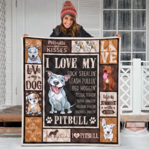 Pitbull Quilt Blanket Great Gifts For Birthday Christmas Thanksgiving Anniversary
