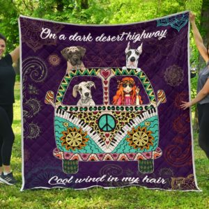 Great Dane Dog Hippie Van And Hippie Girl Quilt Blanket Great Customized Blanket Gifts For Birthday Christmas Thanksgiving Anniversary