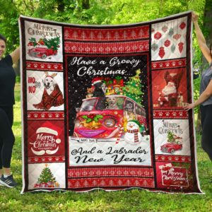 Labrador Dog Christmas And A Labrador New Year Quilt Blanket Great Customized Blanket Gifts For Birthday Christmas Thanksgiving Anniversary