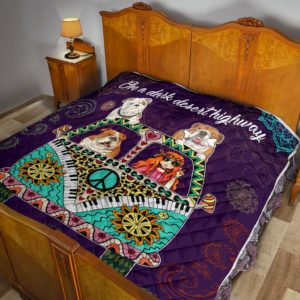 Bulldog Hippie Van And Hippie Girl Cool Wind In Hair Quilt Blanket Great Customized Blanket Gifts For Birthday Christmas Thanksgiving