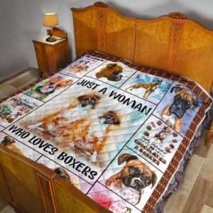 Boxer Just A Woman Who Loves Boxers Quilt Blanket Great Customized Blanket Gifts For Birthday Christmas Thanksgiving Anniversary