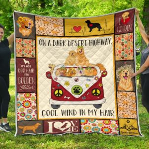 Golden Retriever Dogs Hippie Van Cool Wind In Hair Quilt Blanket Great Customized Blanket Gifts For Birthday Christmas Thanksgiving