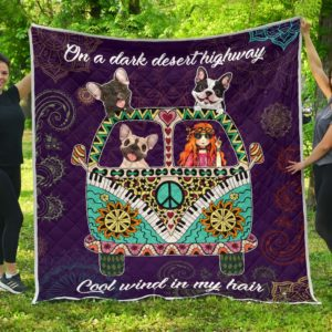 Frenchie Hippie Van And Hippie Girl Cool Wind In Hair Quilt Blanket Great Customized Blanket Gifts For Birthday Christmas Thanksgiving