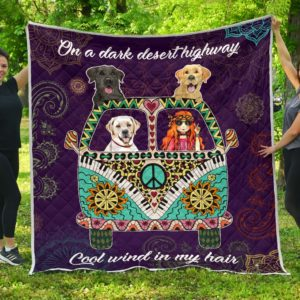 Labrador Dog Hippie Van And Hippie Girl Cool Wind In Hair Quilt Blanket Great Customized Blanket Gifts For Birthday Christmas Thanksgiving