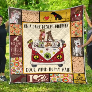 Pitbull Hippie Van And Hippie Girl Cool Wind In Hair Quilt Blanket Great Customized Blanket Gifts For Birthday Christmas Thanksgiving