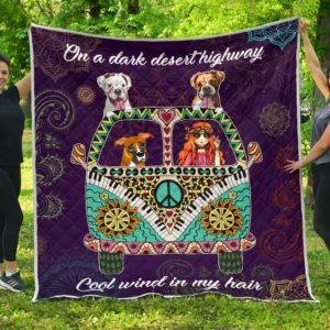 Boxer Hippie Van And Hippie Girl Cool Wind In Hair Quilt Blanket Great Customized Blanket Gifts For Birthday Christmas Thanksgiving