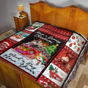 Pug Merry Christmas Quilt Blanket Great Customized Blanket Gifts For Birthday Christmas Thanksgiving