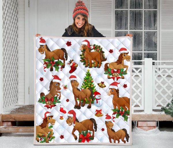 Horse Christmas Quilt Blanket Great Customized Blanket Gifts For Birthday Christmas Thanksgiving Anniversary
