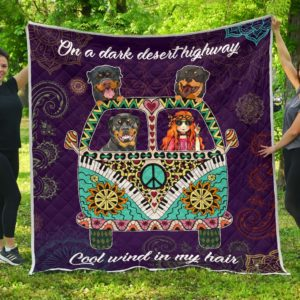 Rottweiler Hippie Van And Hippie Girl Quilt Blanket Great Customized Blanket Gifts For Birthday Christmas Thanksgiving Anniversary
