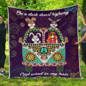 Rabbit Hippie Van And Hippie Girl Quilt Blanket Great Customized Blanket Gifts For Birthday Christmas Thanksgiving Anniversary