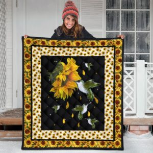 Hummingbirds And Sunflowers Quilt Blanket Great Gifts For Birthday Christmas Thanksgiving Anniversary
