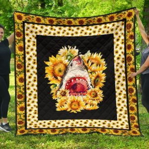 Shark And Sunflower Quilt Blanket Great Gifts For Birthday Christmas Thanksgiving Anniversary