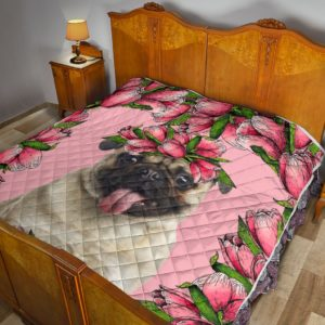 Pug Flower Pink Blanket Quilt Blanket Great Customized Blanket Gifts For Birthday Christmas Thanksgiving Anniversary