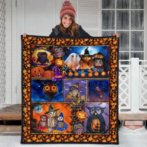 Owl Halloween Quilt Blanket Great Gifts For Birthday Christmas Thanksgiving Anniversary