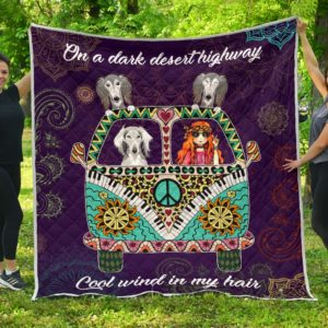 Saluki Hippie Van And Hippie Girl Cool Wind In My Hair Quilt Blanket Great Customized Blanket Gifts For Birthday Christmas Thanksgiving Anniversary