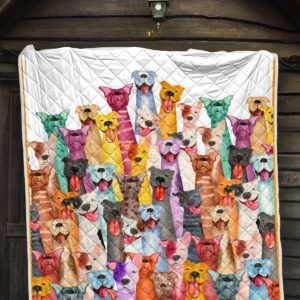 Colored Pitbull Faces Quilt Blanket Great Customized Blanket Gifts For Birthday Christmas Thanksgiving