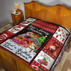 Bulldog Merry Christmas And A Bulldog New Year Quilt Blanket Great Customized Blanket Gifts For Birthday Christmas Thanksgiving Anniversary