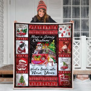 Border Collie Merry Christmas Quilt Blanket Great Customized Blanket Gifts For Birthday Christmas Thanksgiving Anniversary
