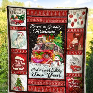 Frenchie Bulldog Merry Christmas Quilt Blanket Great Customized Blanket Gifts For Birthday Christmas Thanksgiving