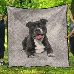 Black Pitbull Quilt Blanket Great Gifts For Birthday Christmas Thanksgiving Anniversary