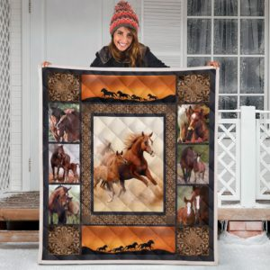 Horse Sunset Mother Quilt Blanket Great Customized Blanket Gifts For Birthday Christmas Thanksgiving Anniversary