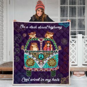 Otter Hippie Van And Hippie Girl Cool Wind In Hair Quilt Blanket Great Customized Blanket Gifts For Birthday Christmas Thanksgiving